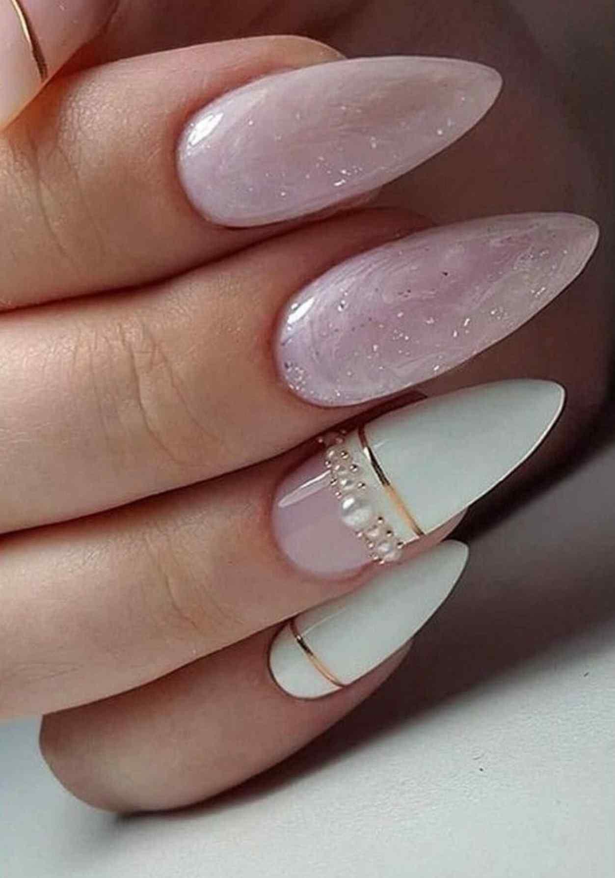 uñas decoradas rosa palo para bodas o novias