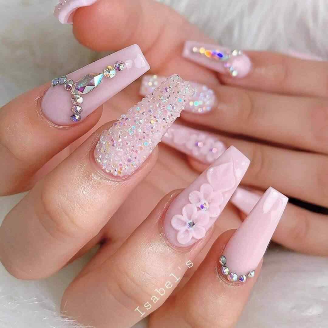 uñas elegante rosa palo