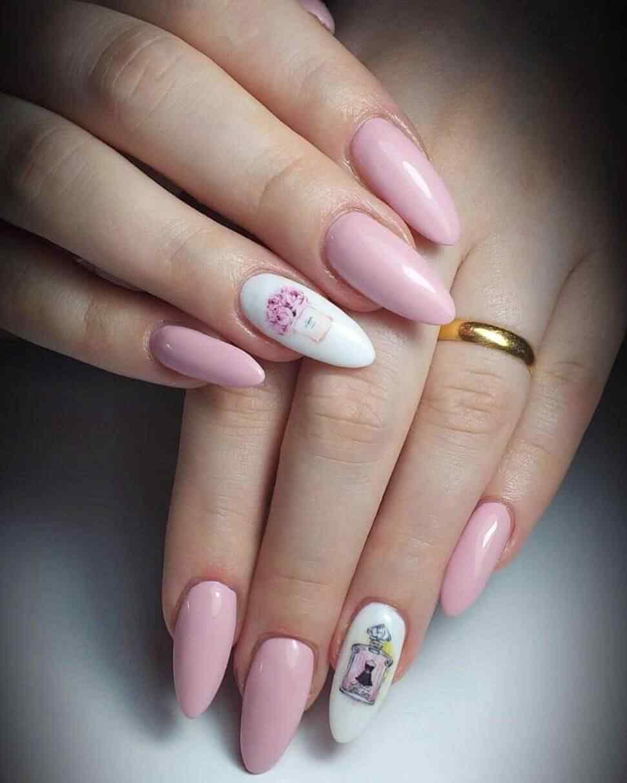 unas estampadas rosa palo
