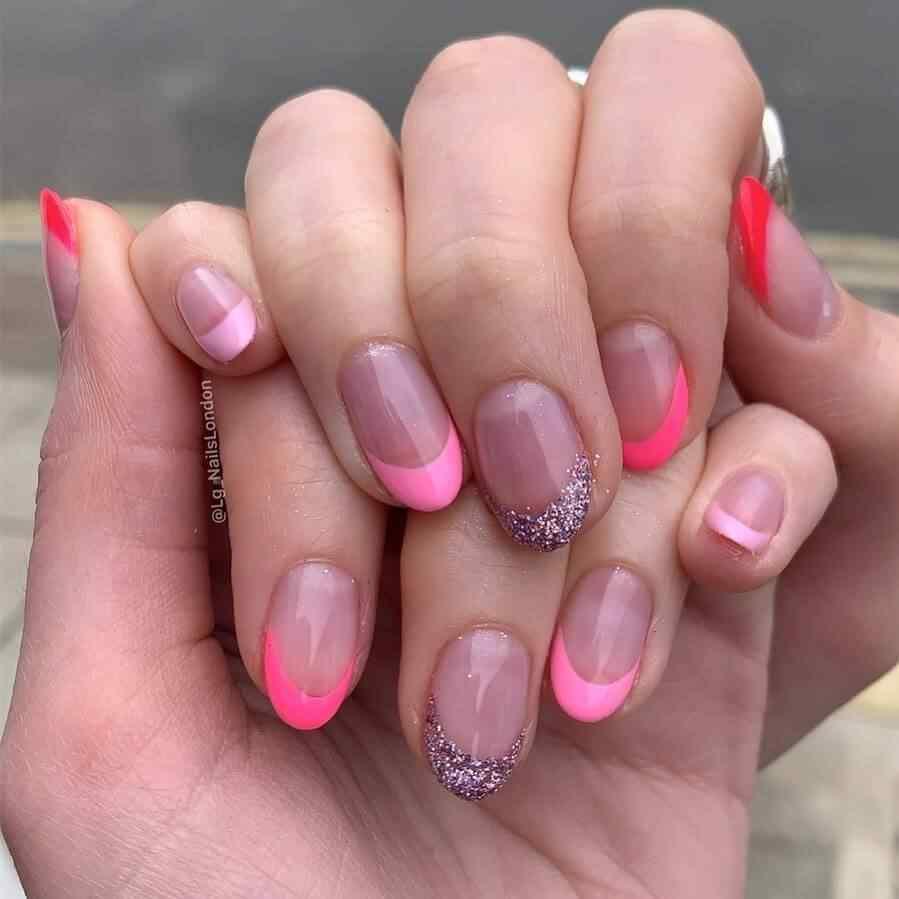 uñas francesas con rosa