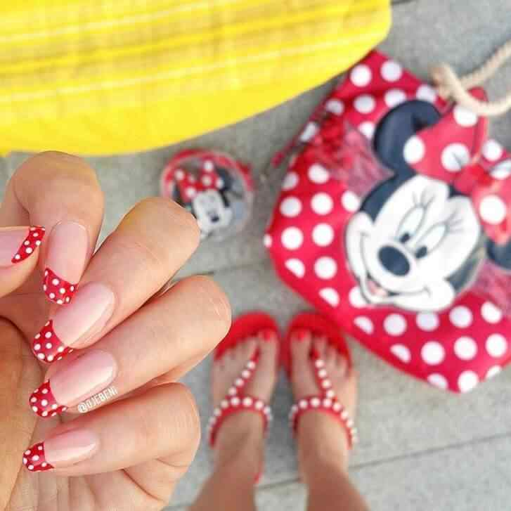 uñas francesas mickey mouse