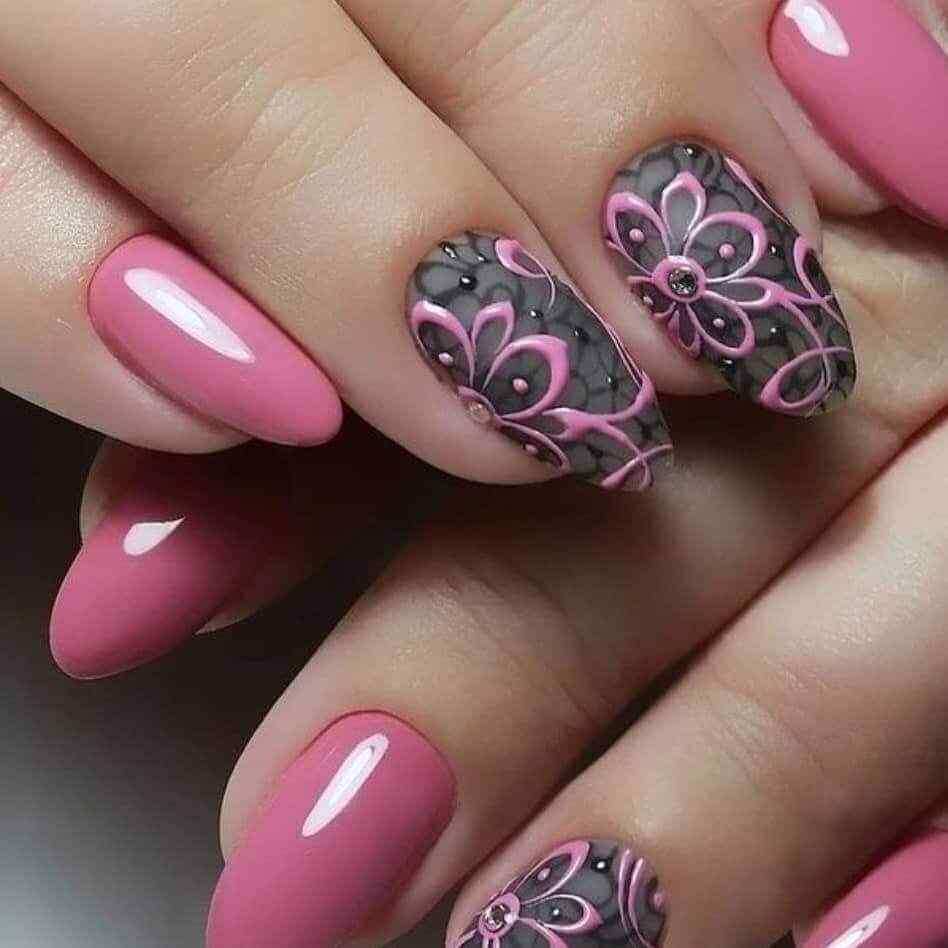 uñas rosa con gris