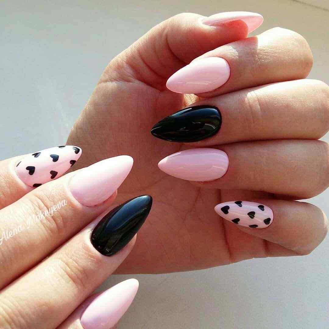 uñas rosa con negro