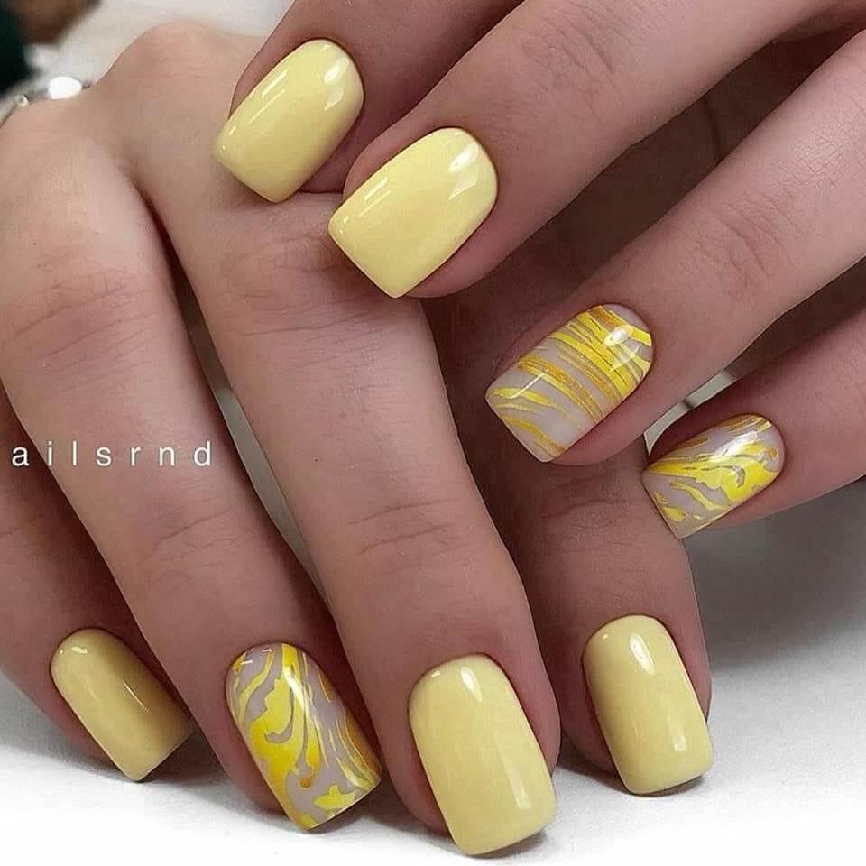 decoracion de uñas amarillo pastel