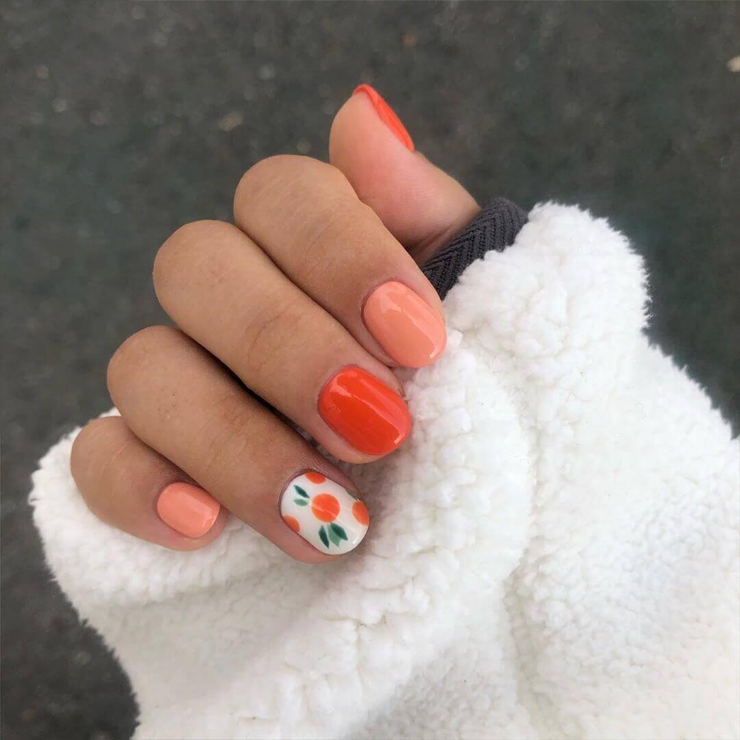 orange nail decoration