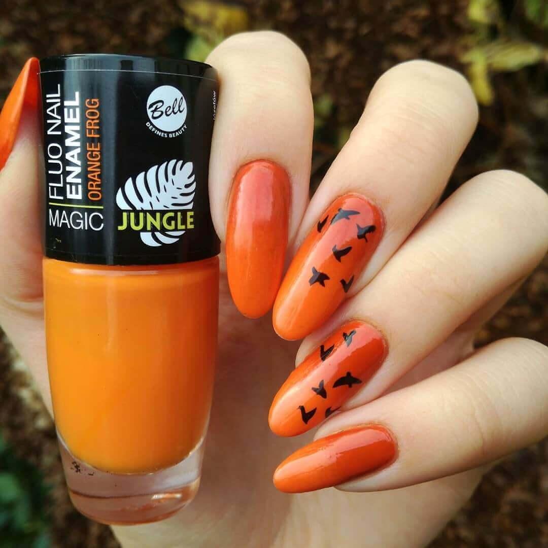 decoracion de uñas naranja