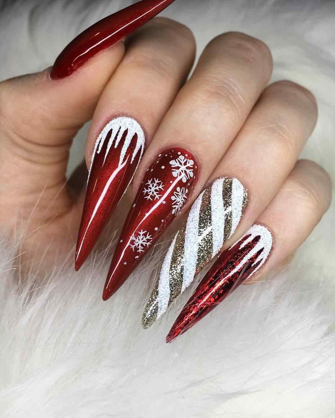 decoracion de uñas acrilicas navideñas