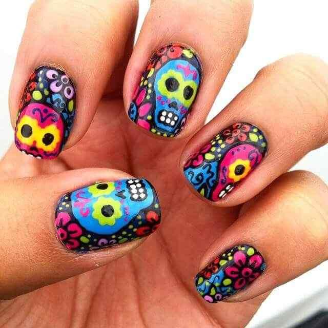 decoracion de uñas dia de los muertos