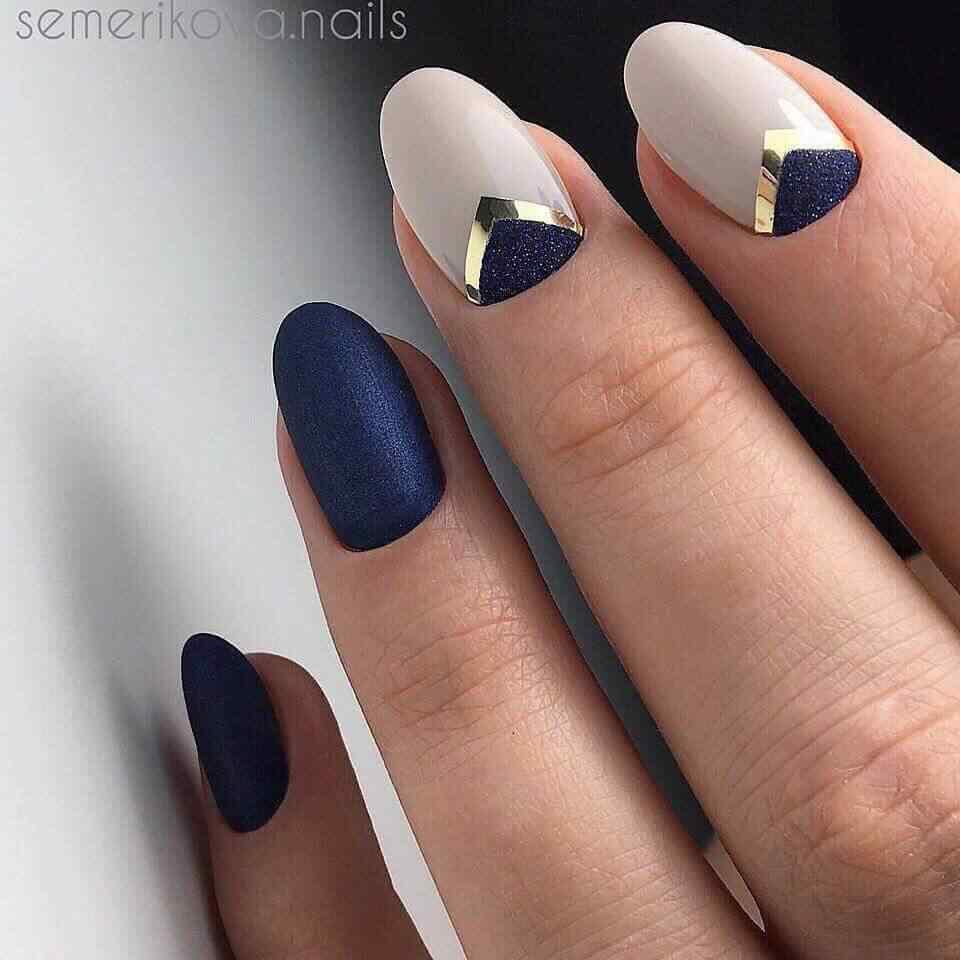 decoracion de uñas facil con azul
