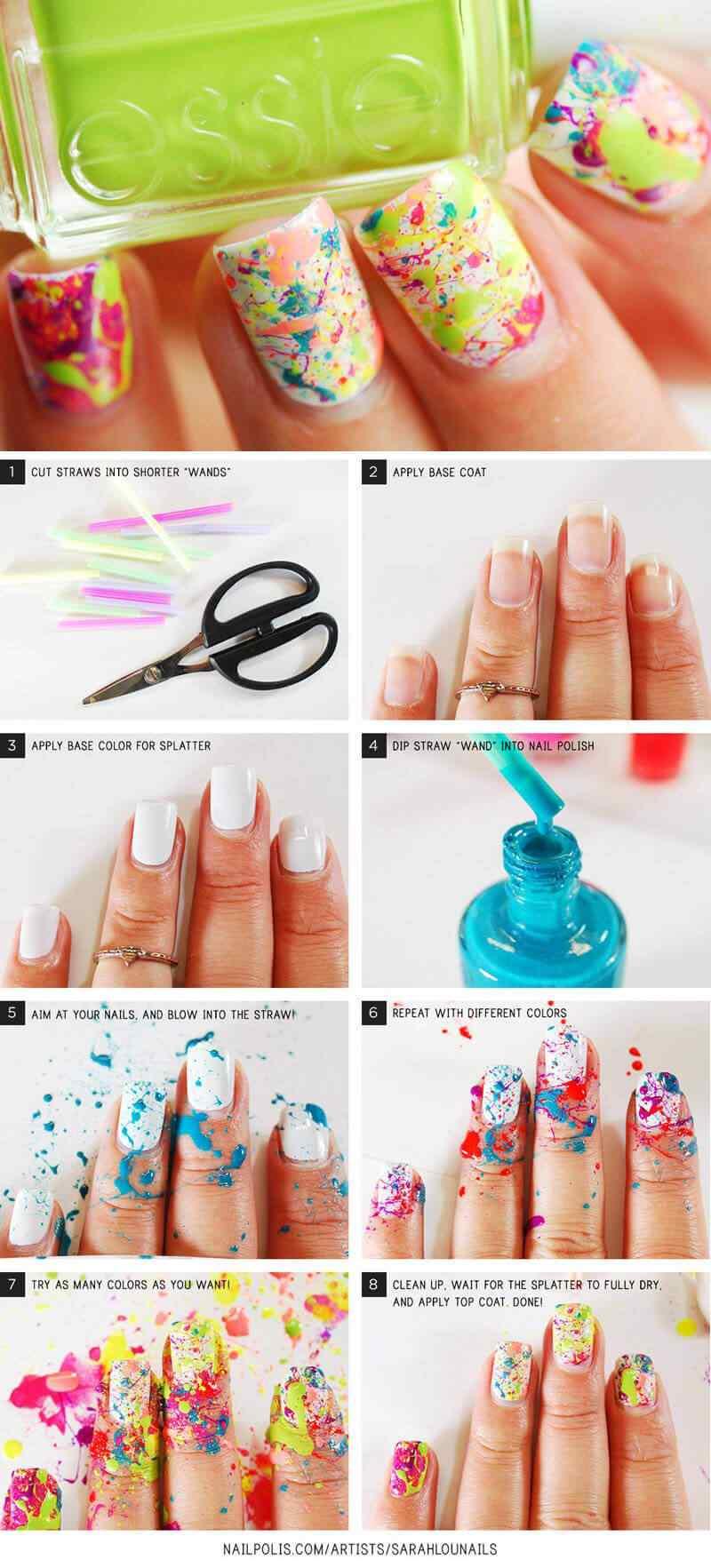 decoracion de uñas sencillas salpicadas