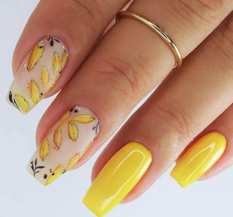 diseño de uñas amarillas primavera