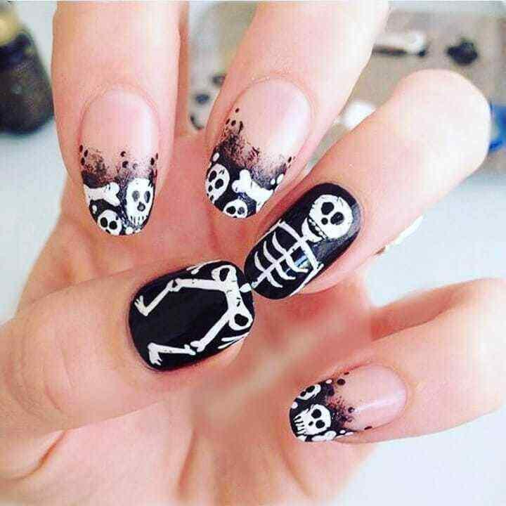 diseño de calavera para uñas