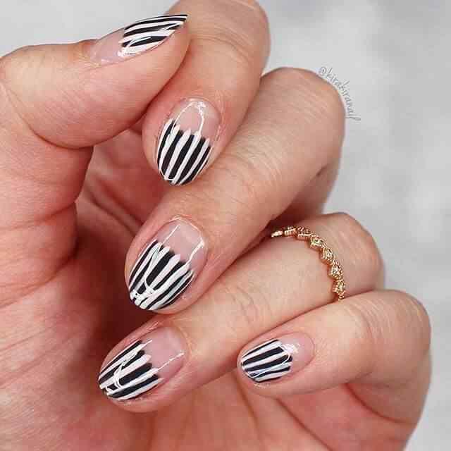 diseño de uñas facil cebra