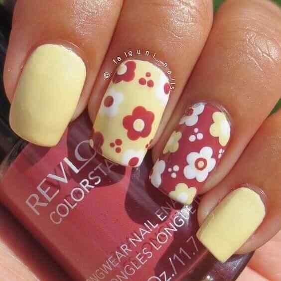 diseño de uñas facil con flores