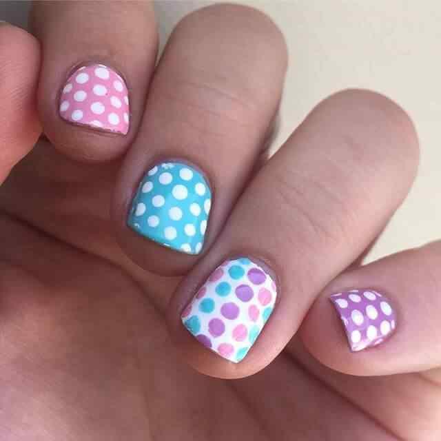 diseño de uñas facil con puntos