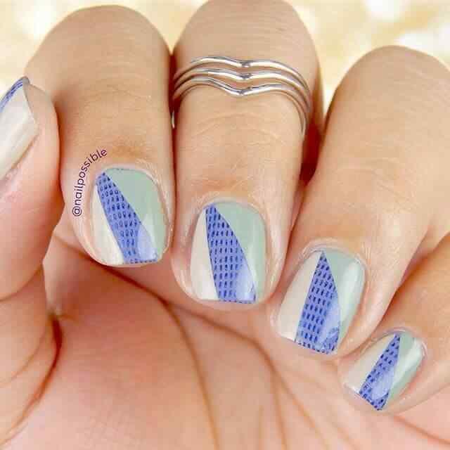 diseño de uñas facil en tres colores
