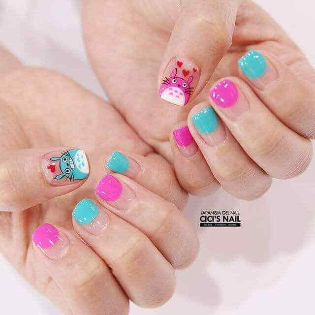 diseño de uñas facil fucsia