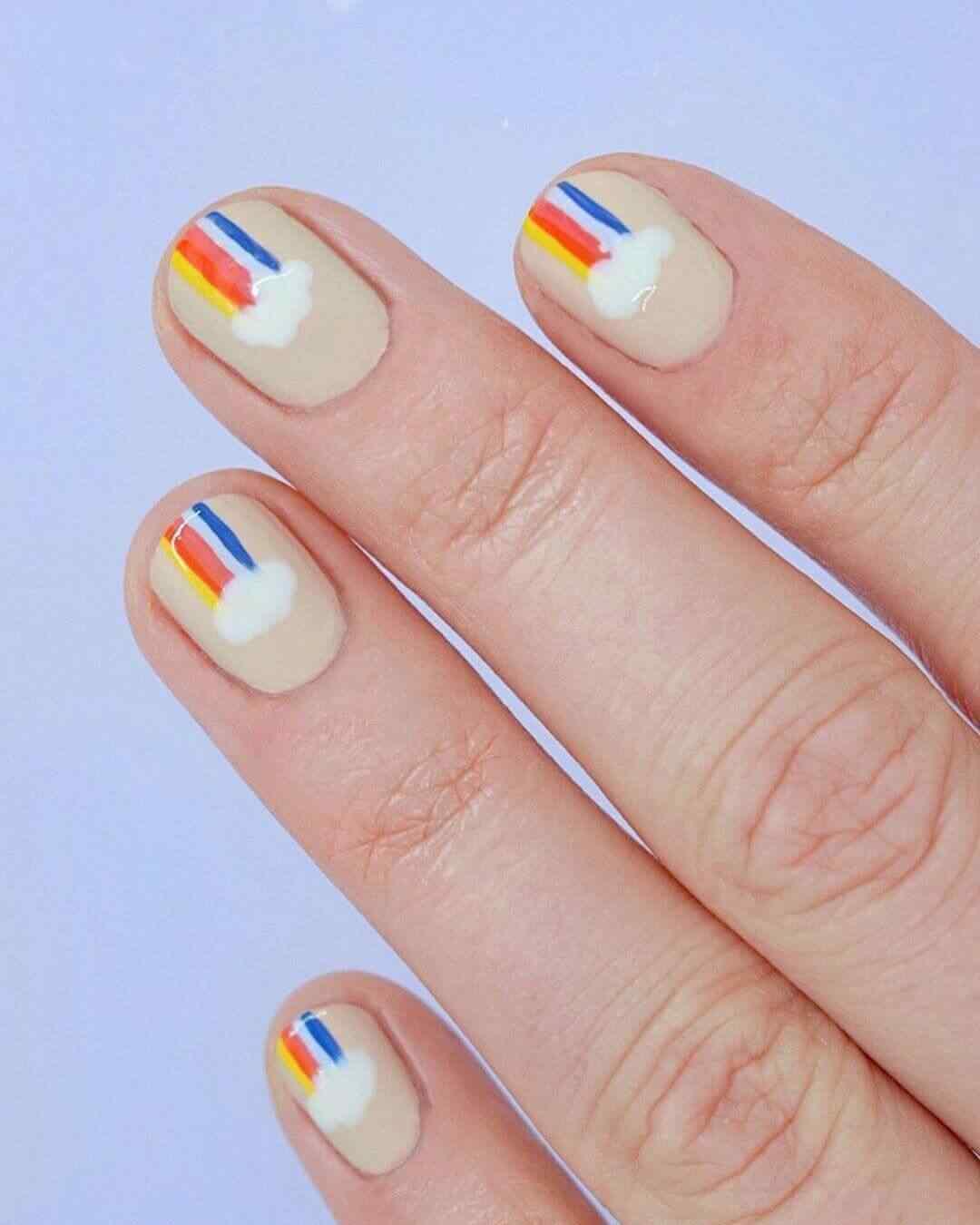 diseño facil de uñas con arcoiris