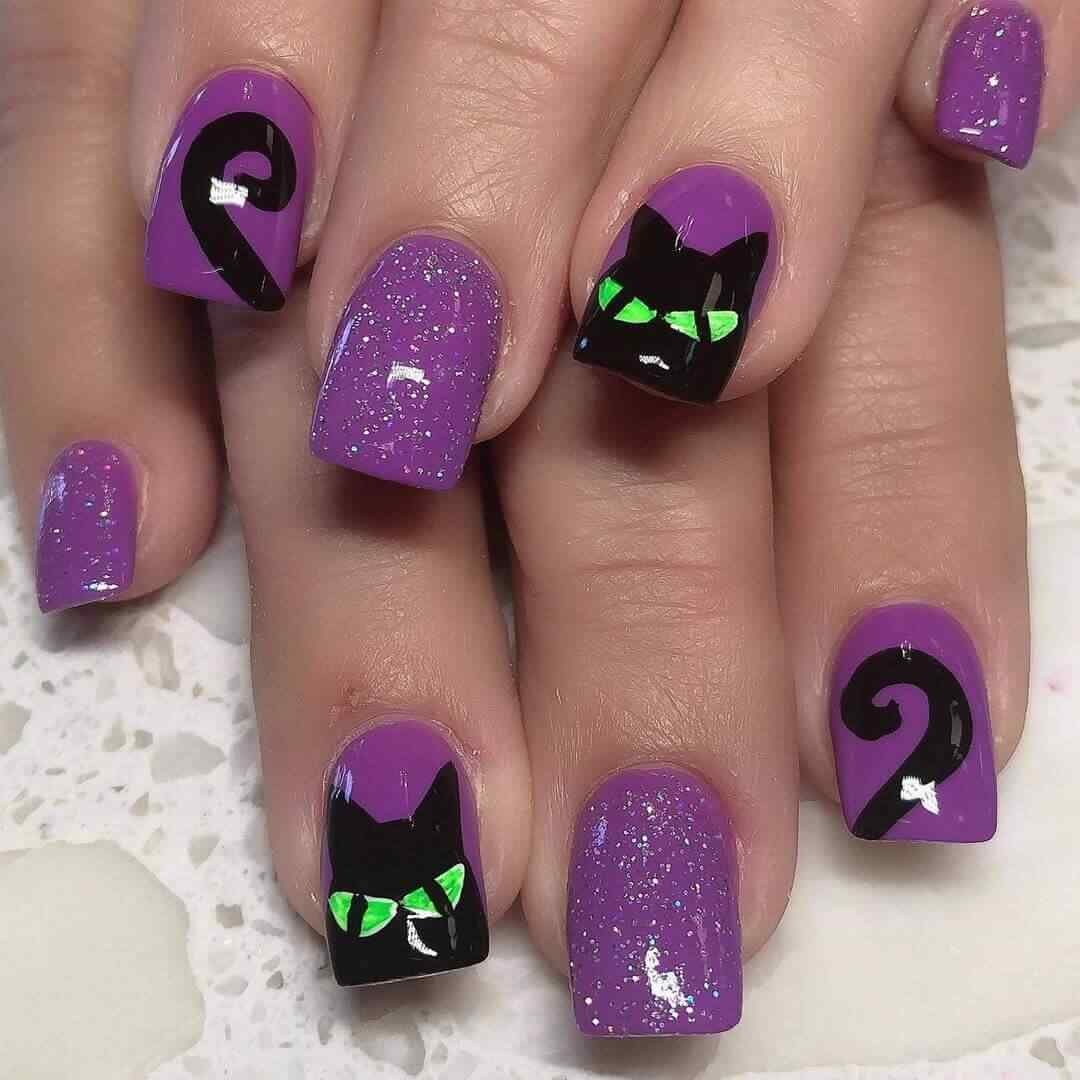 diseño uñas gato halloween