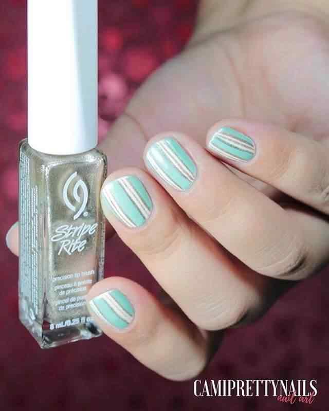 diseño de uñas faciles faciles en verde y blanco