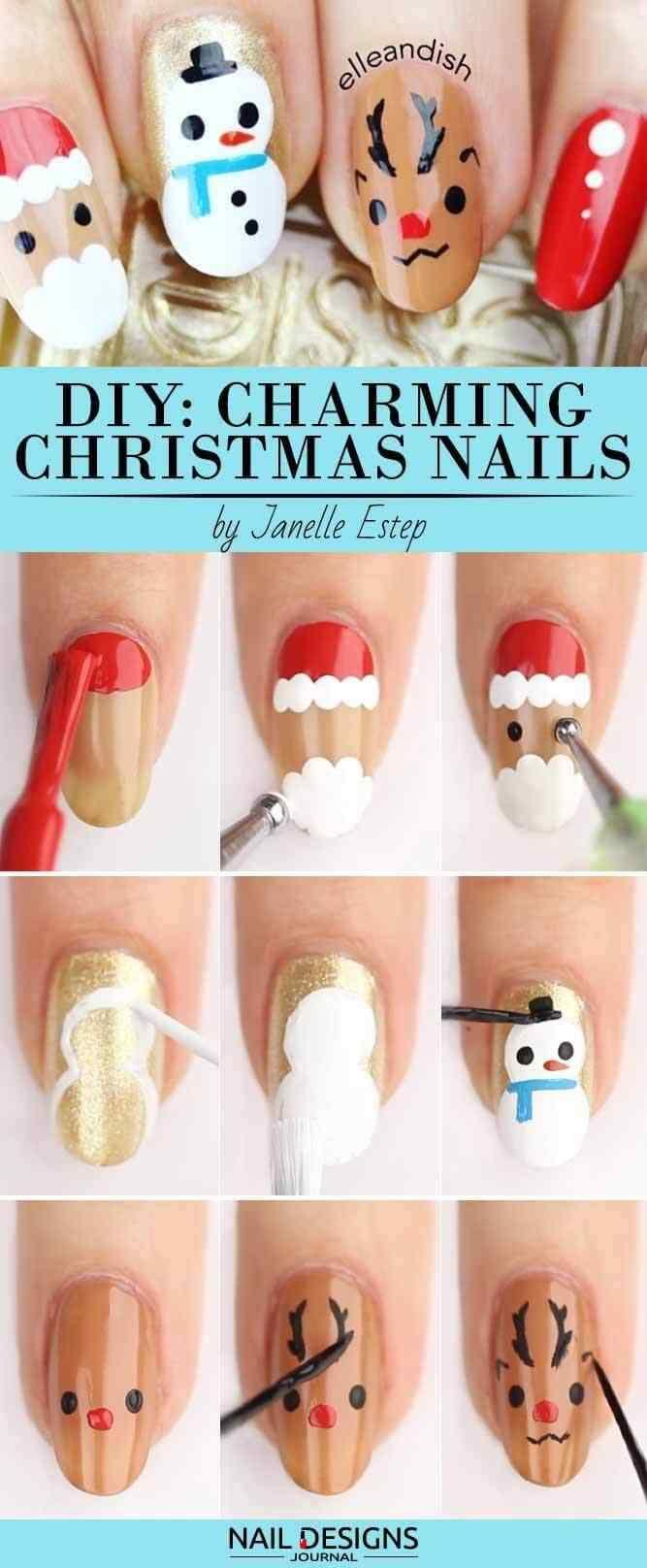 tutorial paso a paso uñas navideñas