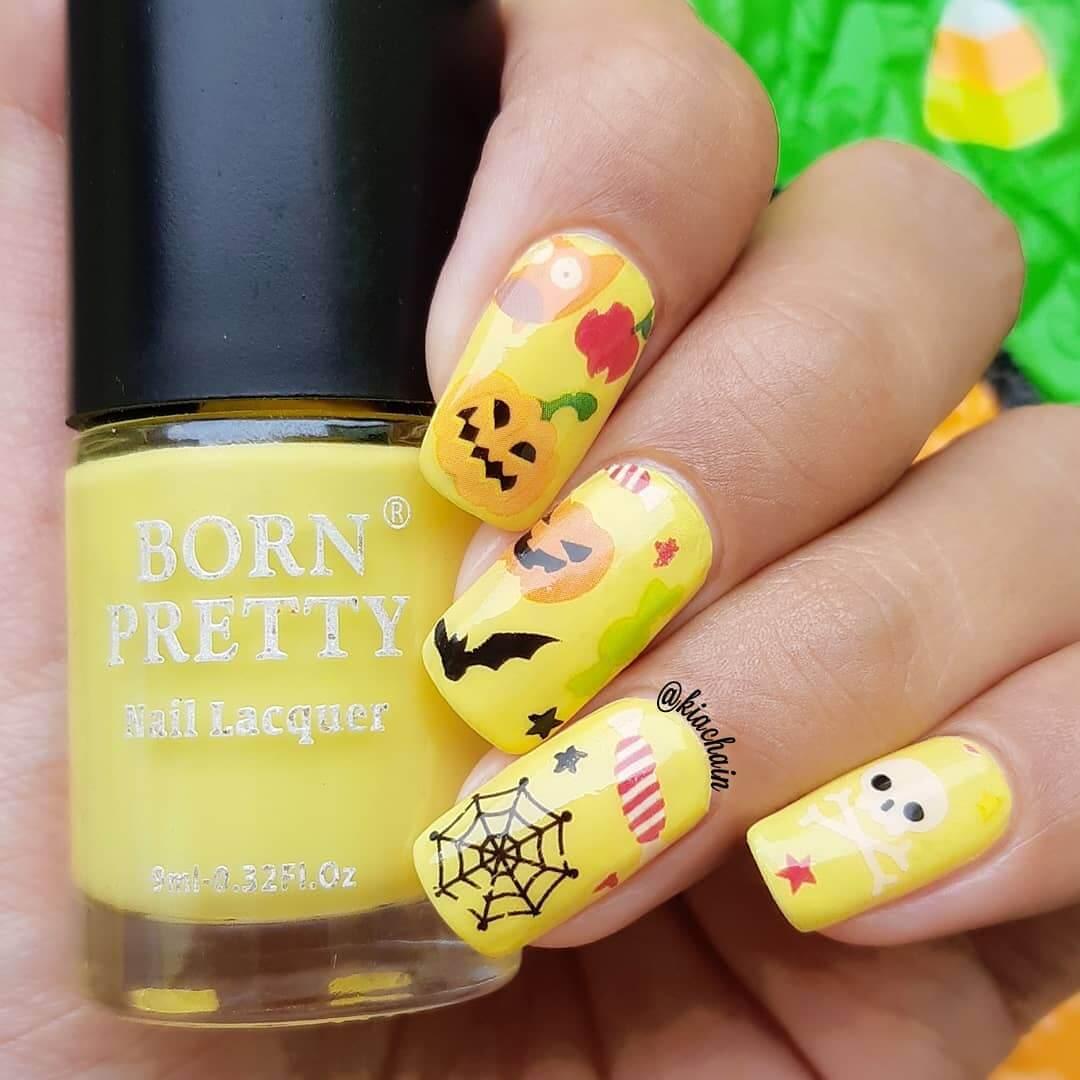 uñas amarillas para halloween