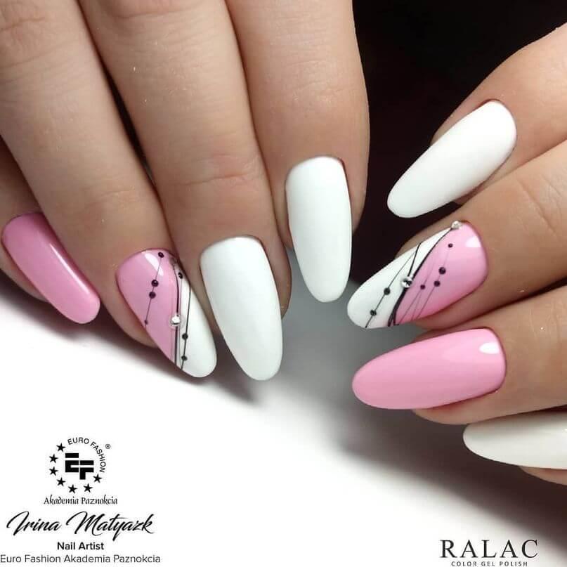 uñas blancas con rosa elegantes