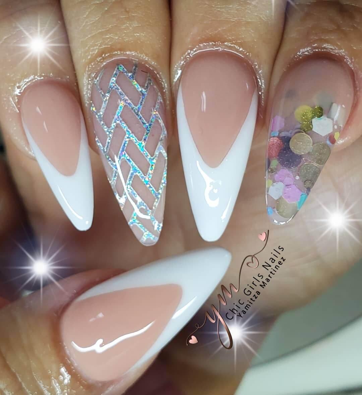 uñas blancas para novia