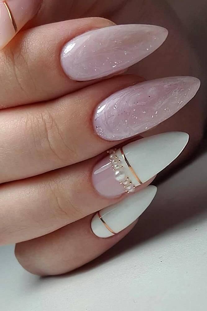 uñas blancas y rosa para novia