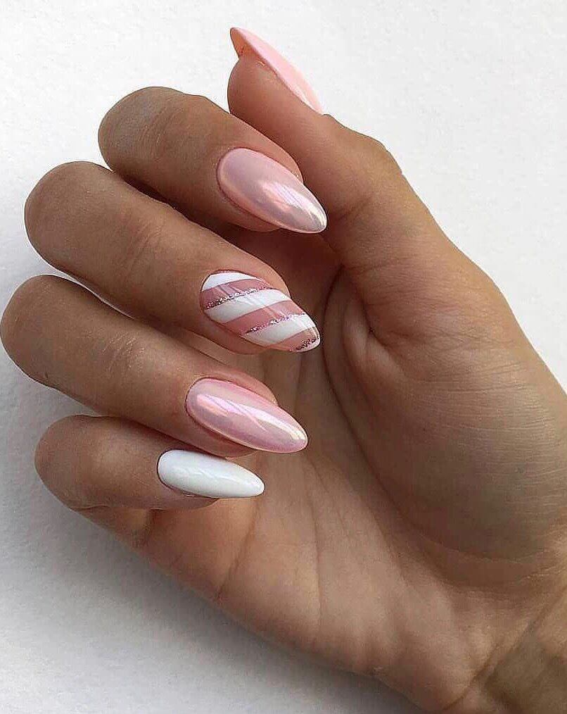 uñas blancas y rosa