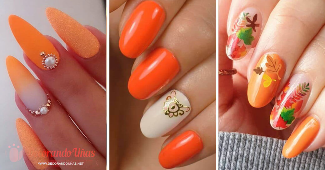 Uñas color naranja decoradas