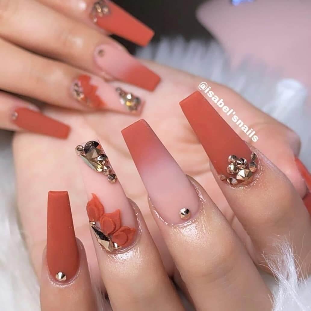 elegant orange nails