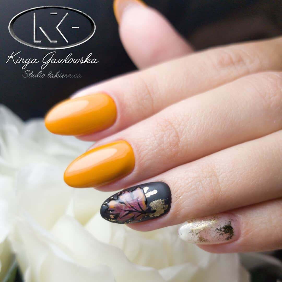 orange decorated nails