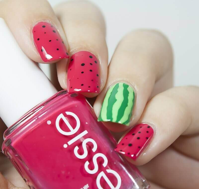 uñas decoradas sandia