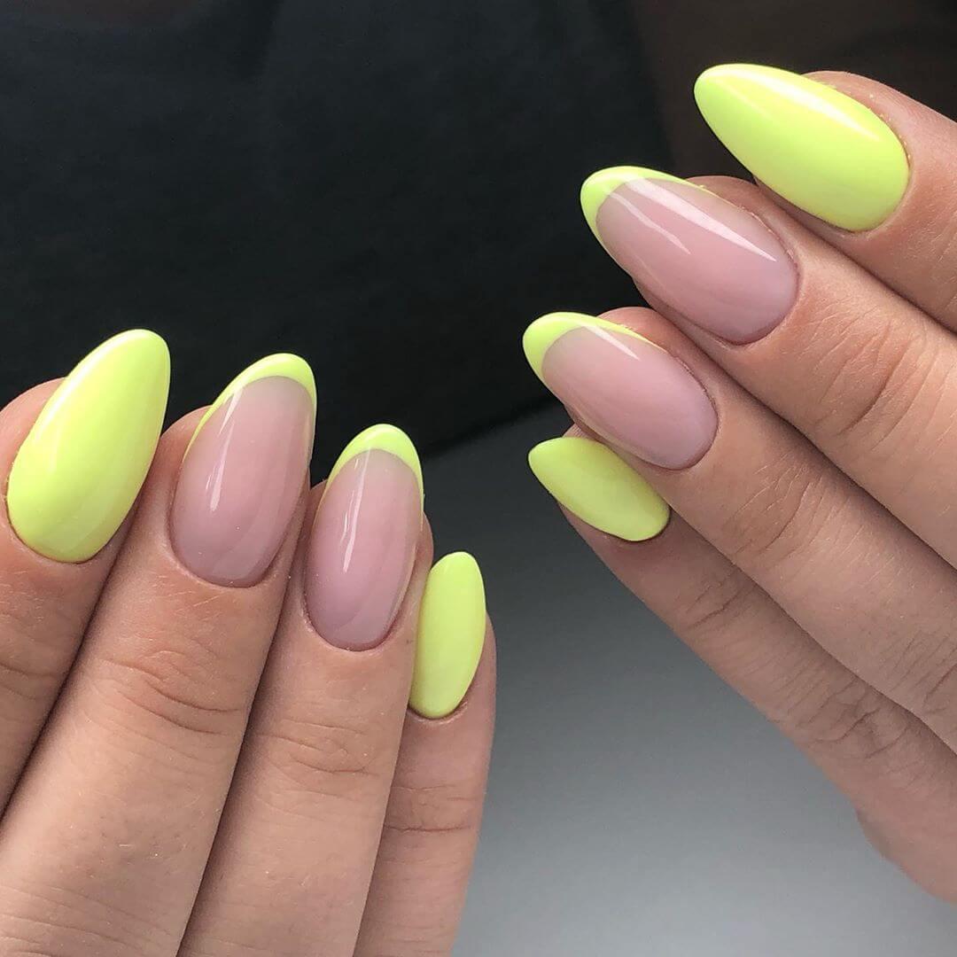 uñas francesas amarillo fluor