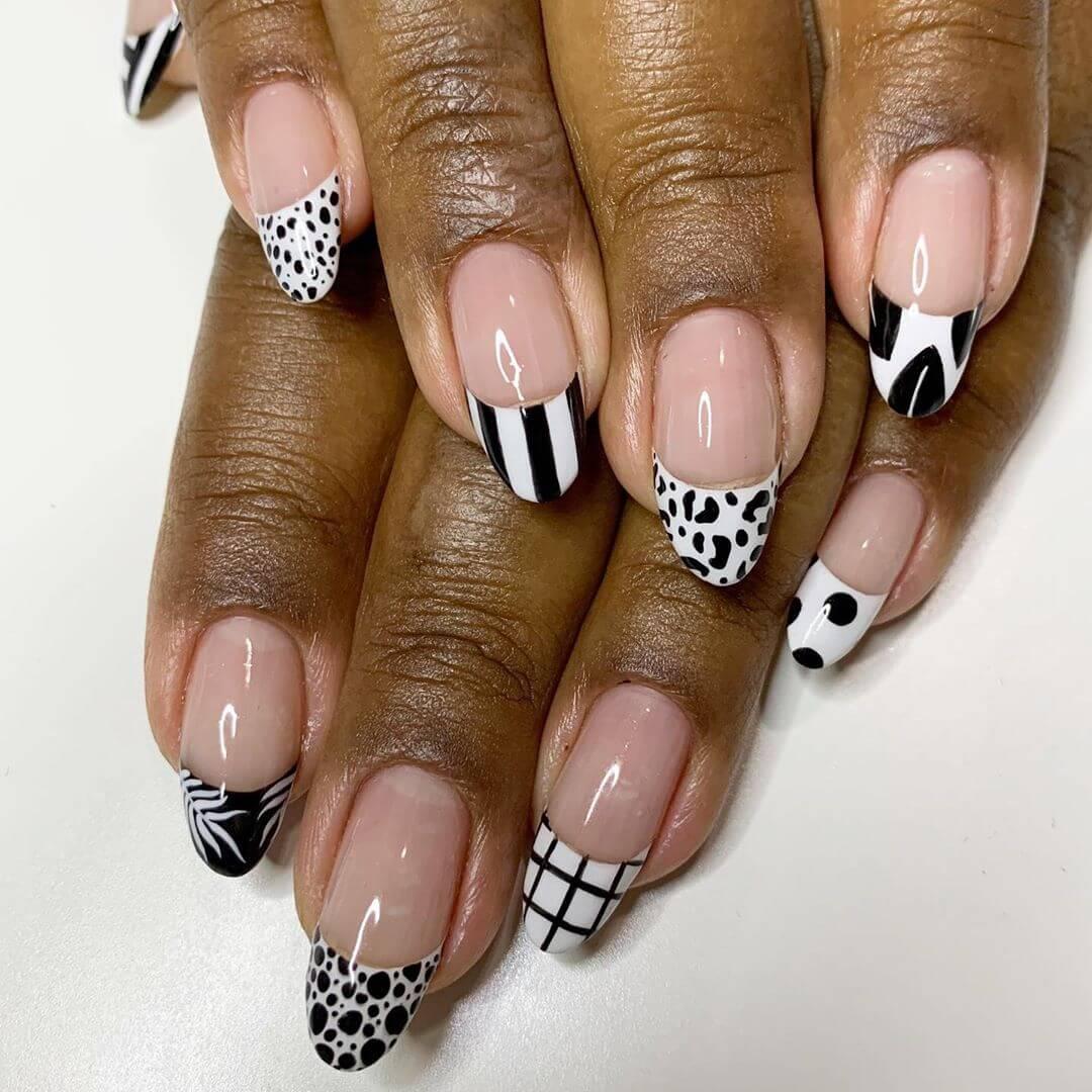 uñas francesas blancas y negras
