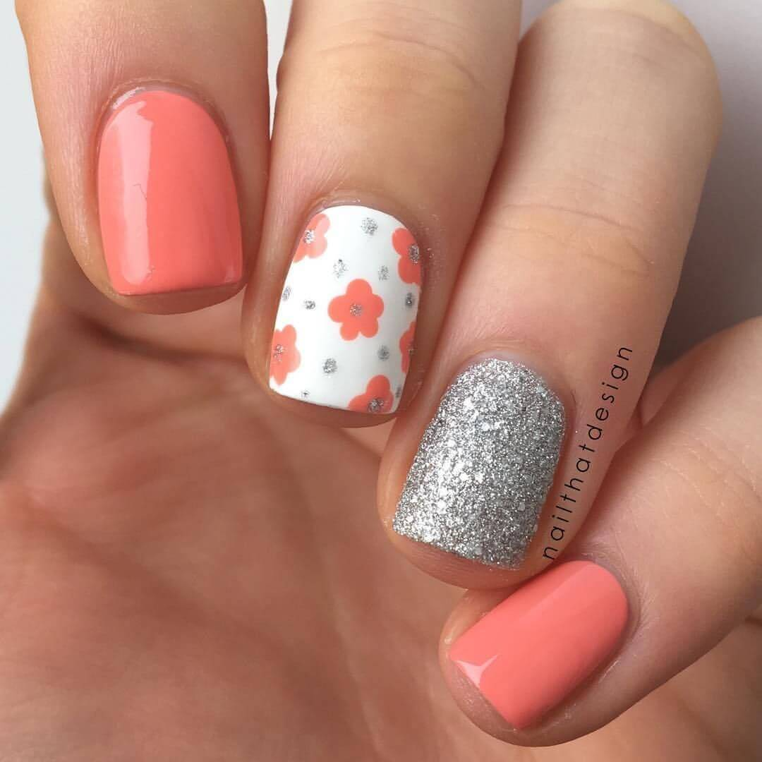 orange nails with silver