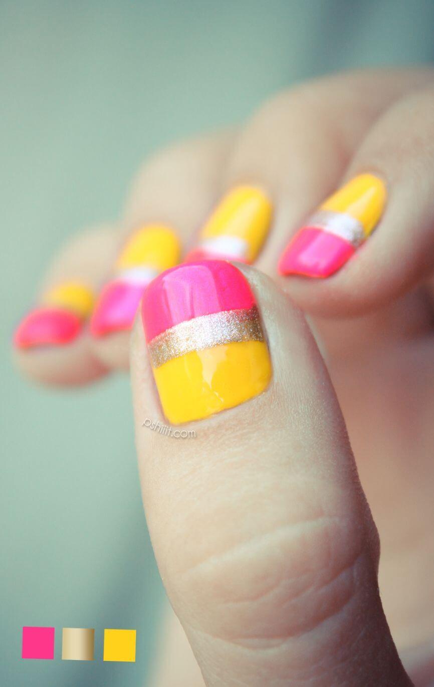 uñas rosa y amarillo