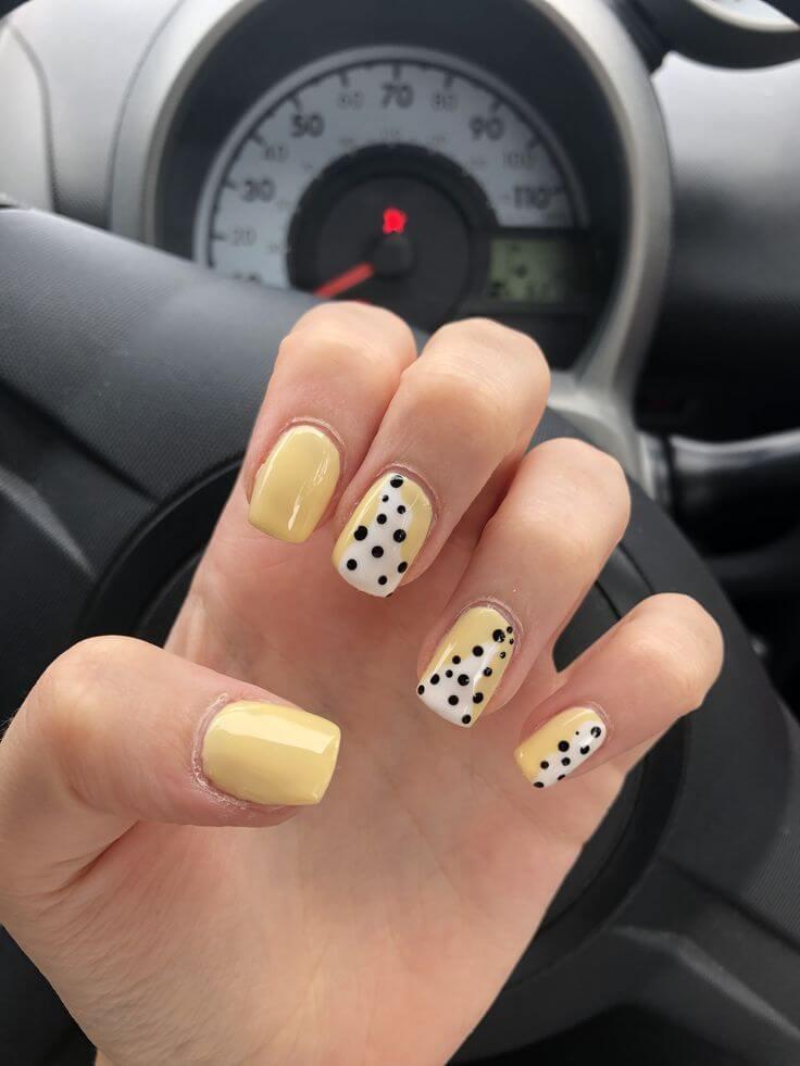 uñas sencillas amarillo pastel