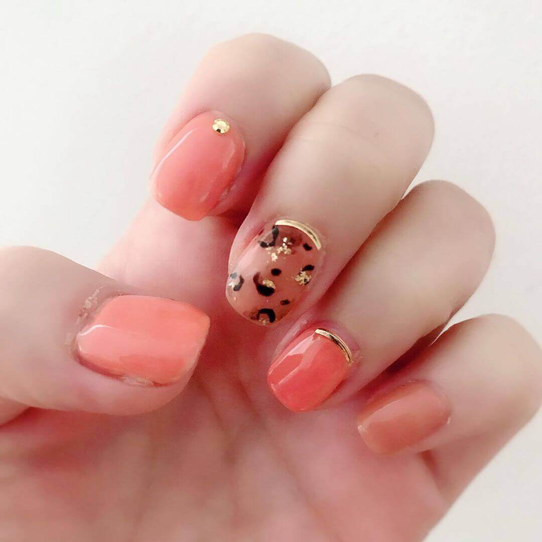 simple orange pastel nails