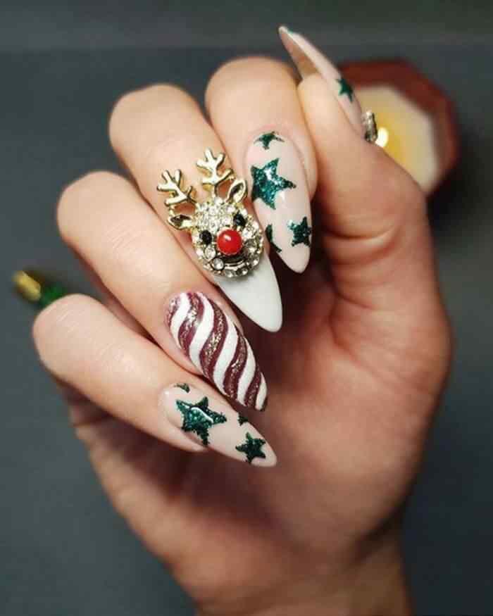 uñas acrilicas elegantes para navidad
