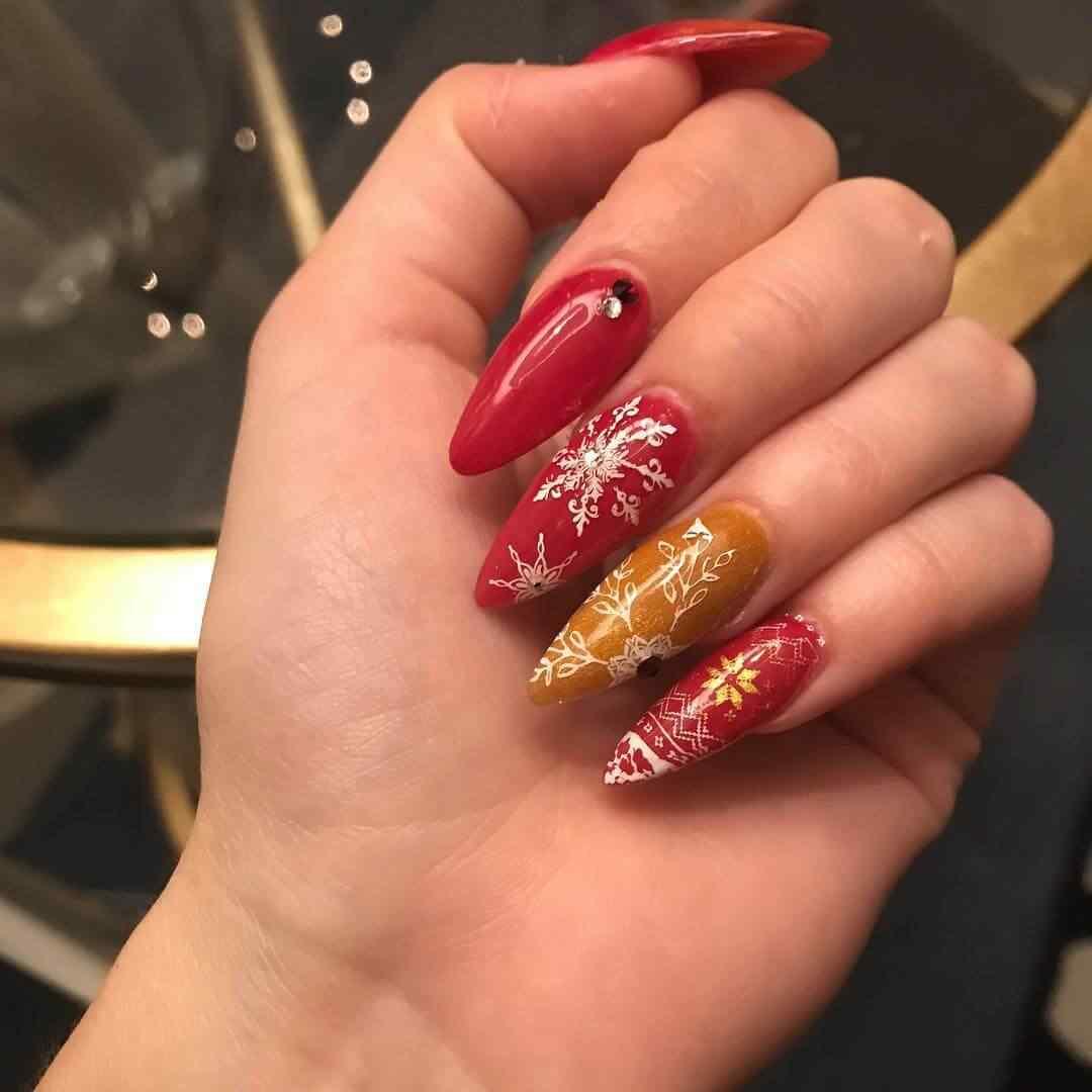 uñas acrilicas navideñas rojas