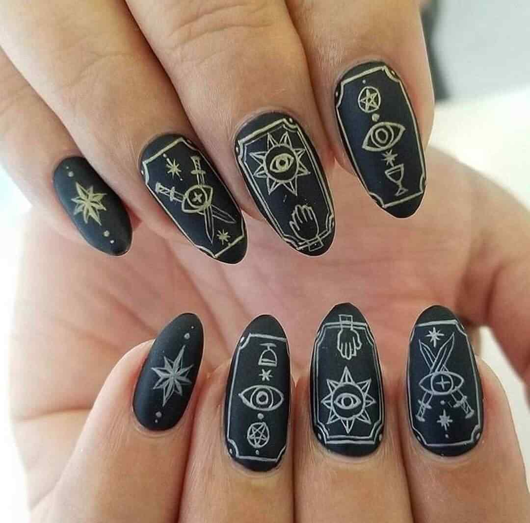 uñas brujas para halloween