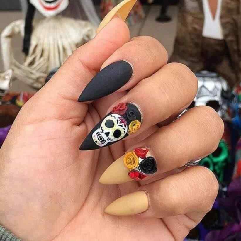 uñas calavera mexicana de halloween