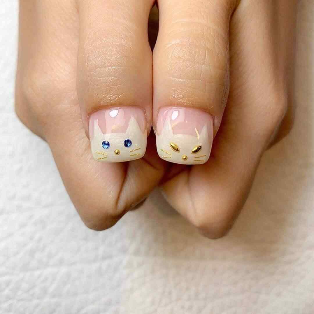 uñas con gatito halloween