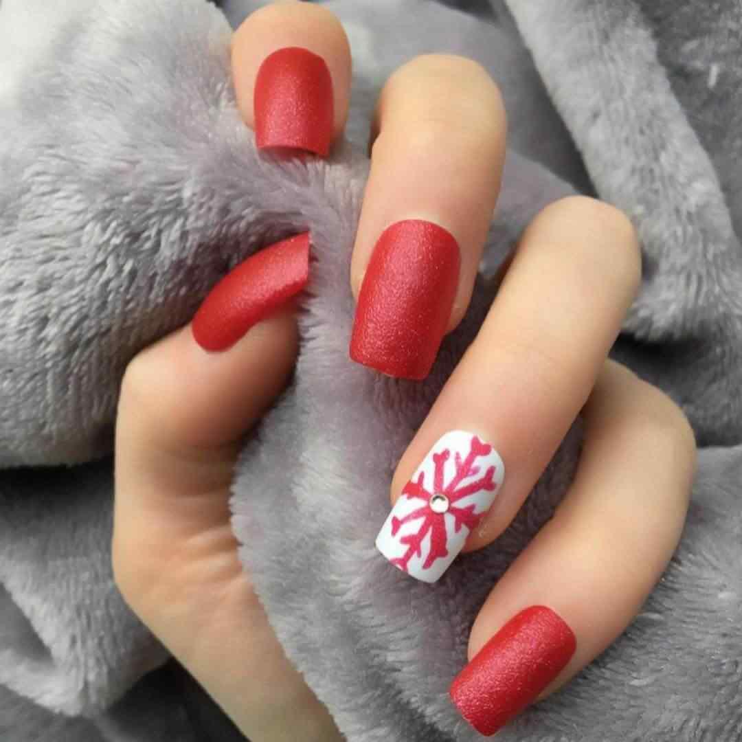 uñas de navidad color rojo