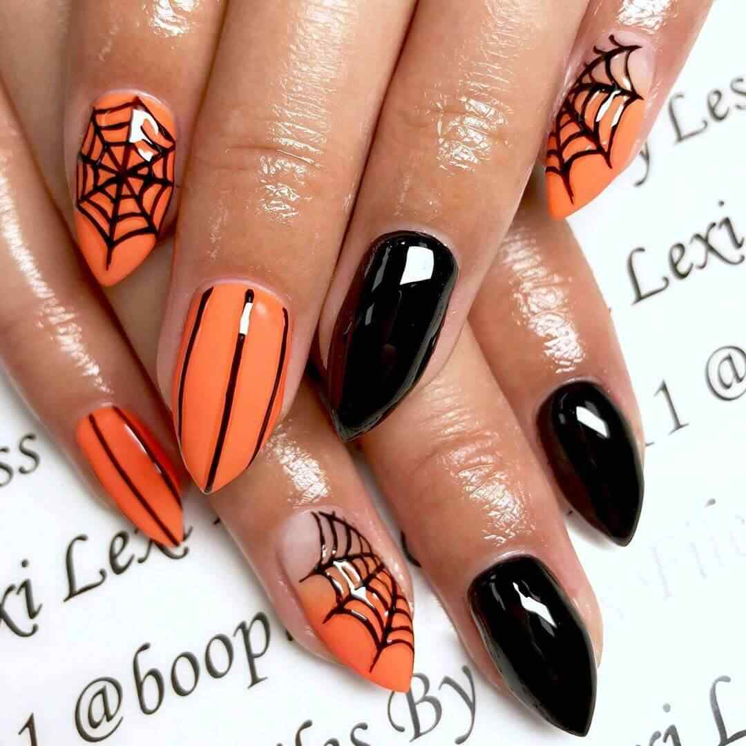 uñas decoradas de halloween tela araña
