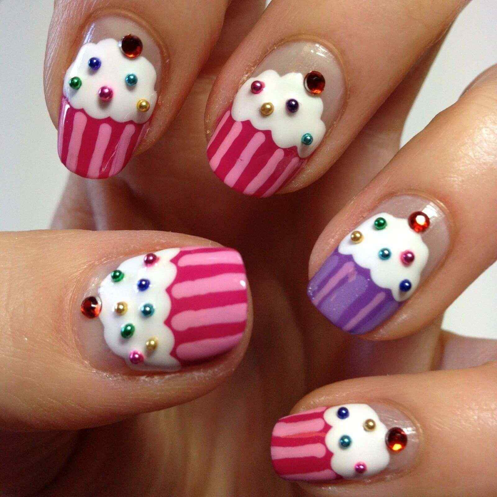 uñas decoradas sencillas cupcakes