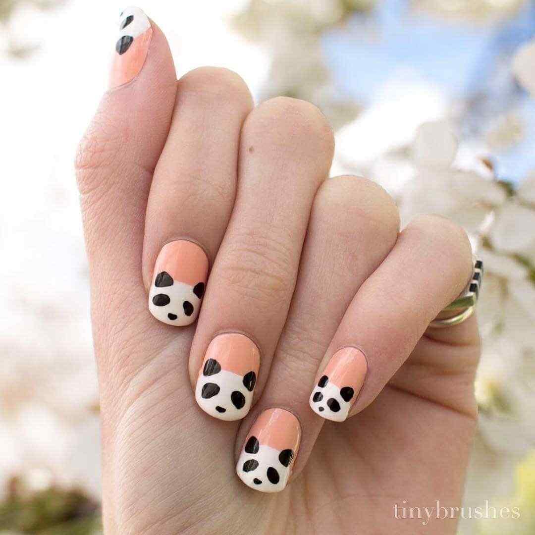 uñas decoradas simples oso panda