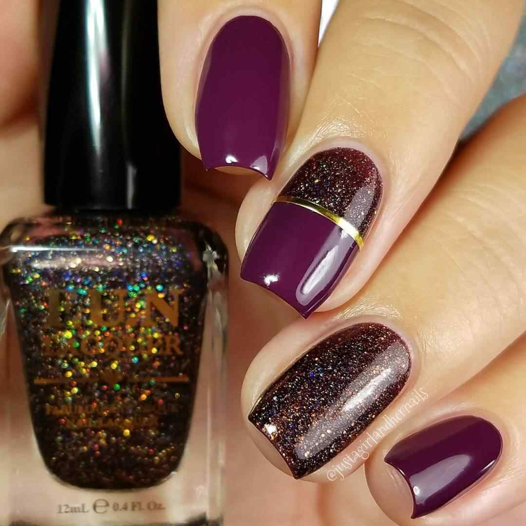 uñas elegantes color violeta para navidad